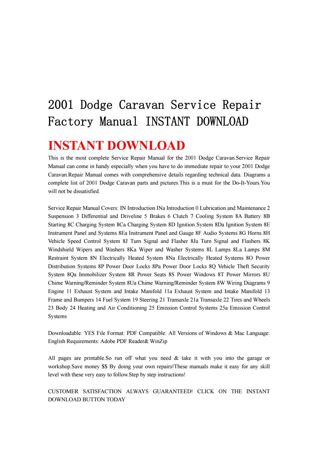 2001 dodge caravan service repair factory manual instant download by  kjjsemfmse - issuu