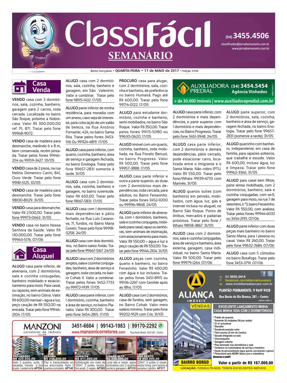 79b0f506999fc Classificados - 17 05 2017 - Edição 3336 by Jornal Semanário - Bento  Gonçalves - RS - issuu