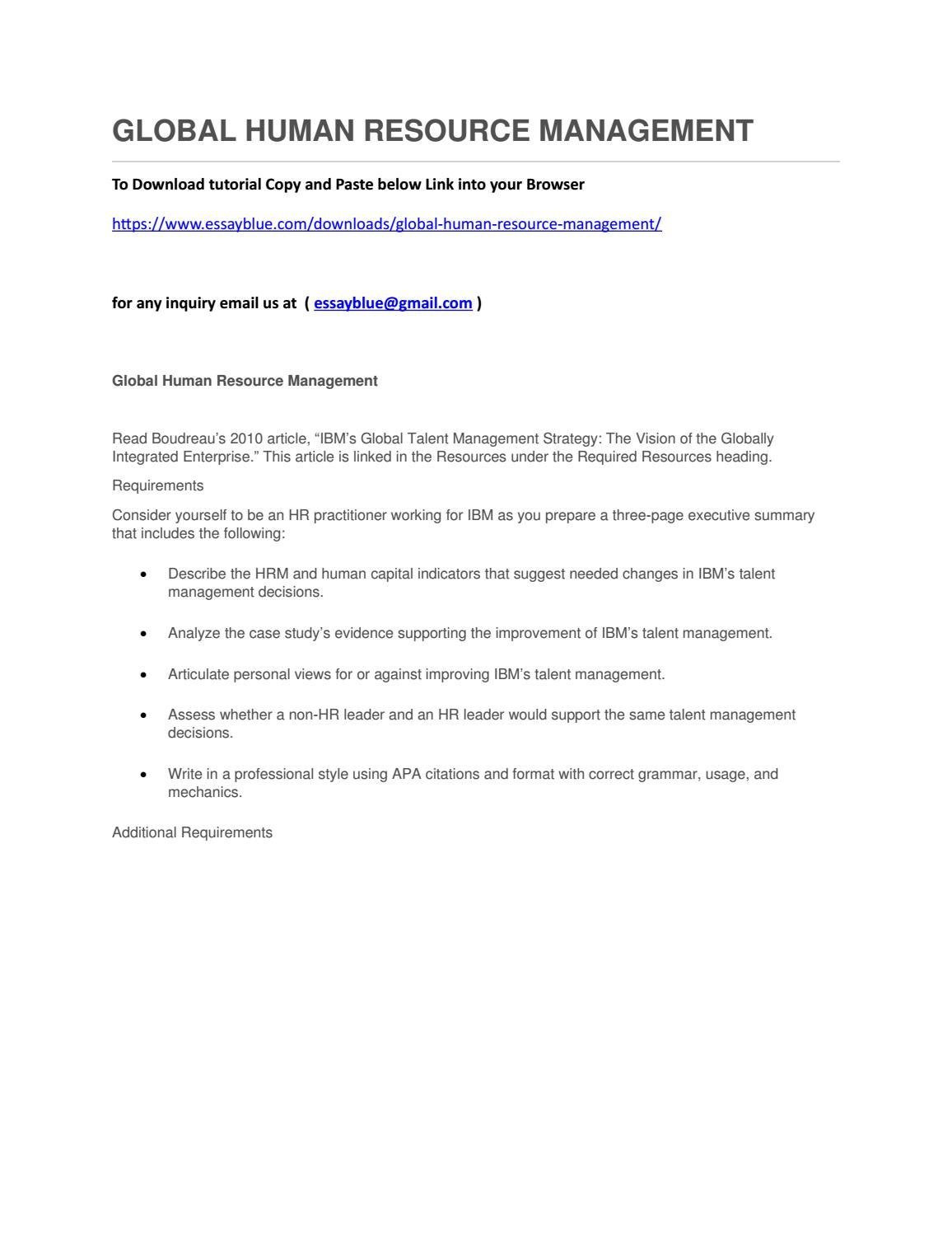 Global human resource management by CherylBuckner - issuu