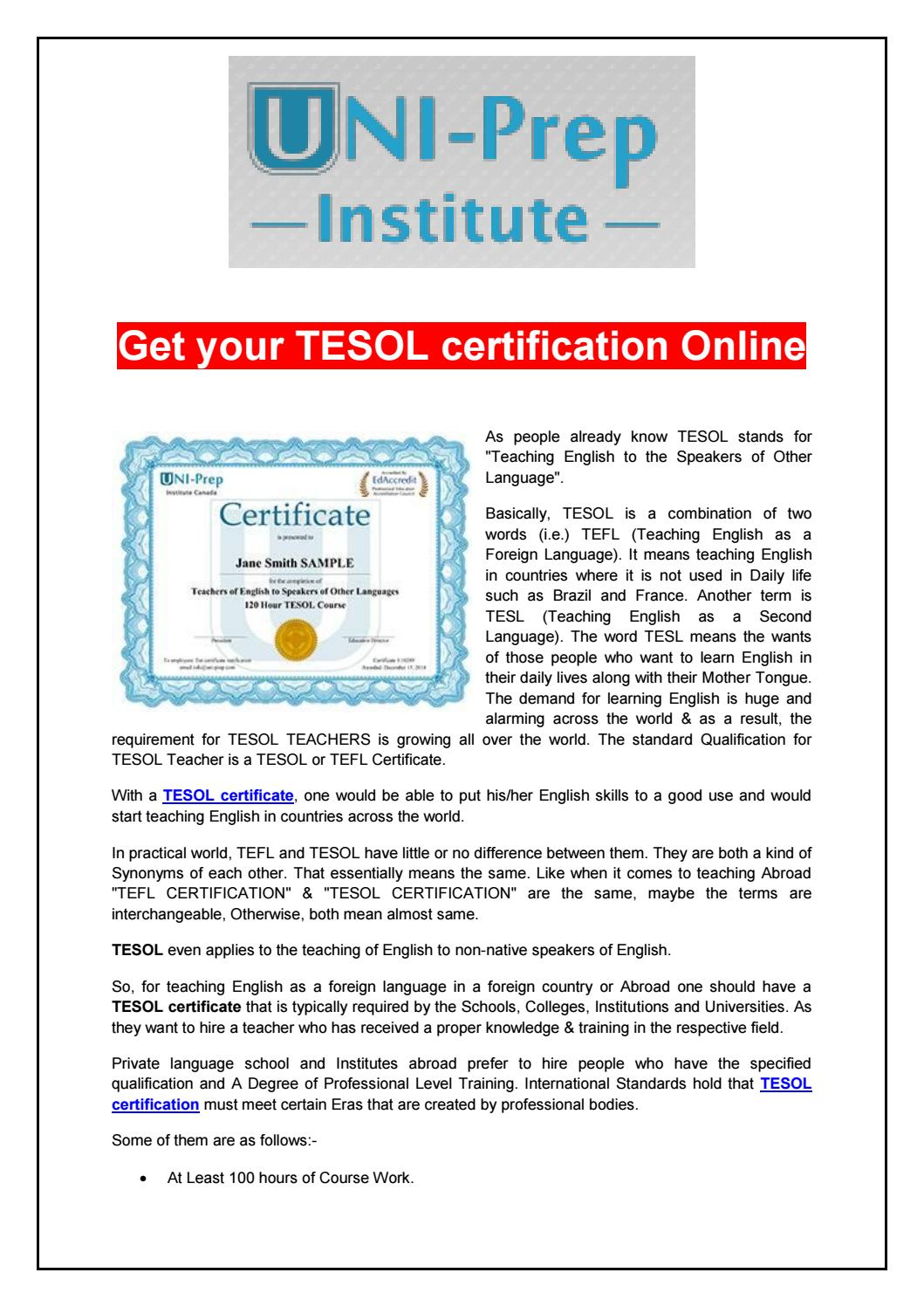 Get Your Tesol Certification Online By Uniprep Issuu