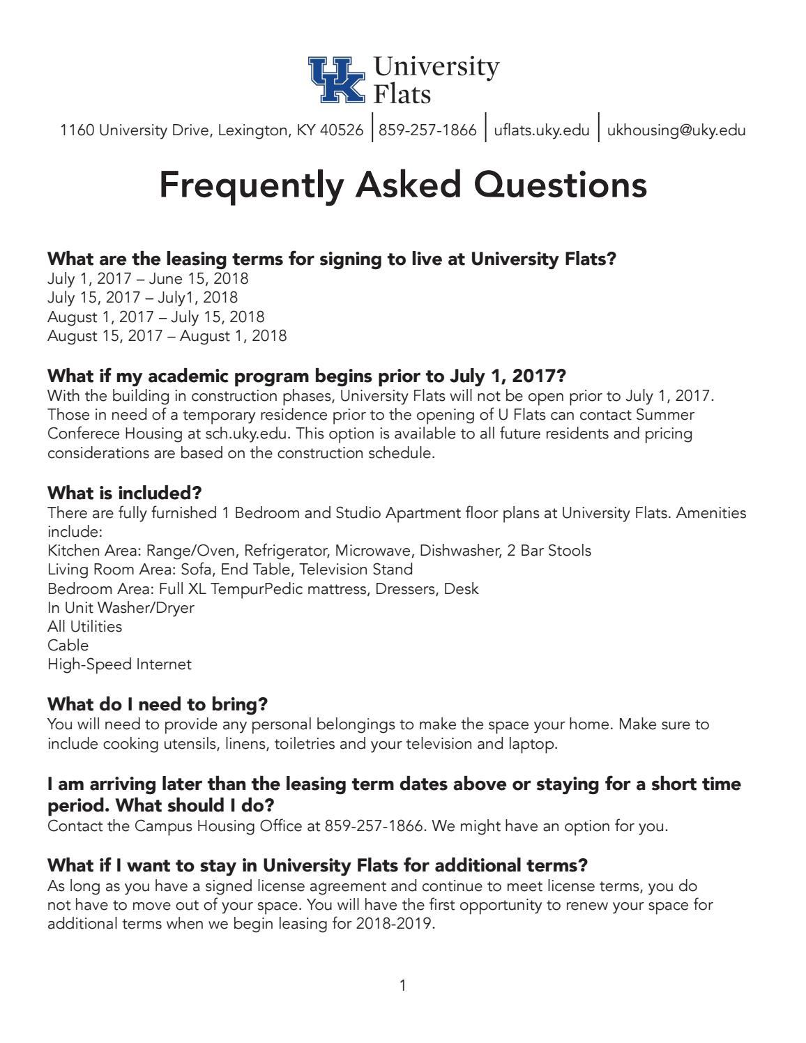 University Flats At The University Of Kentucky Faq By