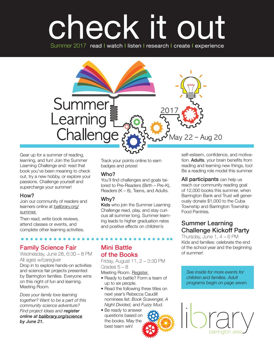 Check It Out Summer 2017 newsletter from the Barrington Area