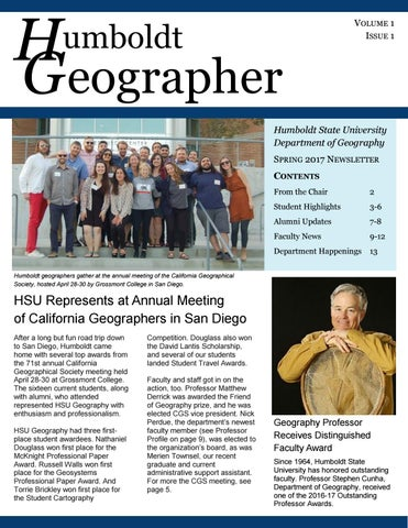 Humboldt Geographer Vol 1 No 1 By Merry Townsel Issuu