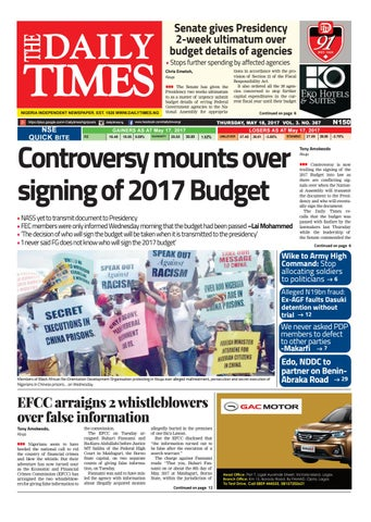 Page 1. THE. DAILY. TIMES. NIGERIA INDEPENDENT NEWSPAPER.