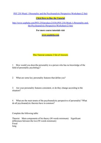 psychoanalytic approach charris edens psy 250 may Welcome.