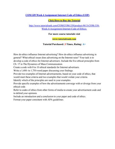 Com 339 Week 4 Assignment Internet Code Of Ethics Uop By