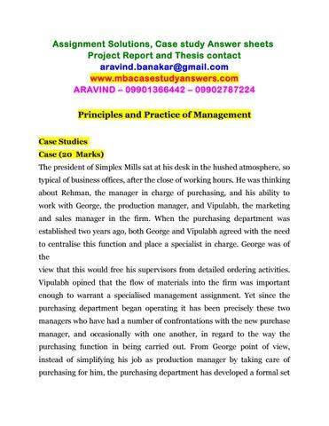 case study principles of management
