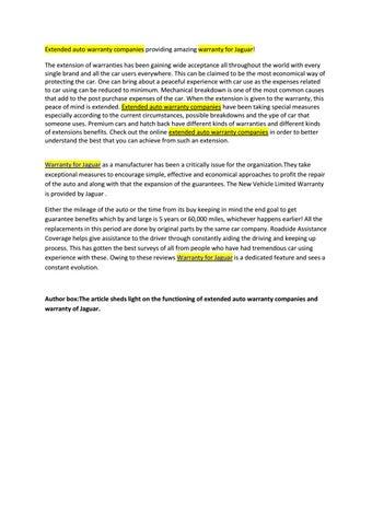 Auto Warranty Companies >> Extended Auto Warranty Companies Providing Amazing Warranty