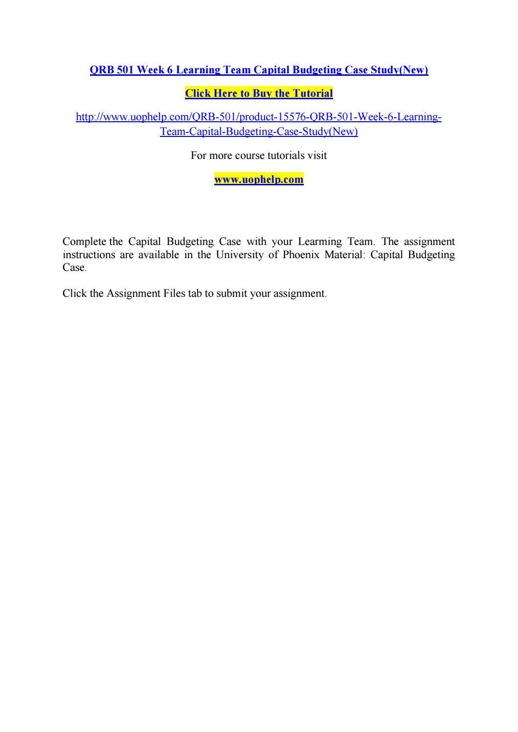 capital budgeting case study qrb 501