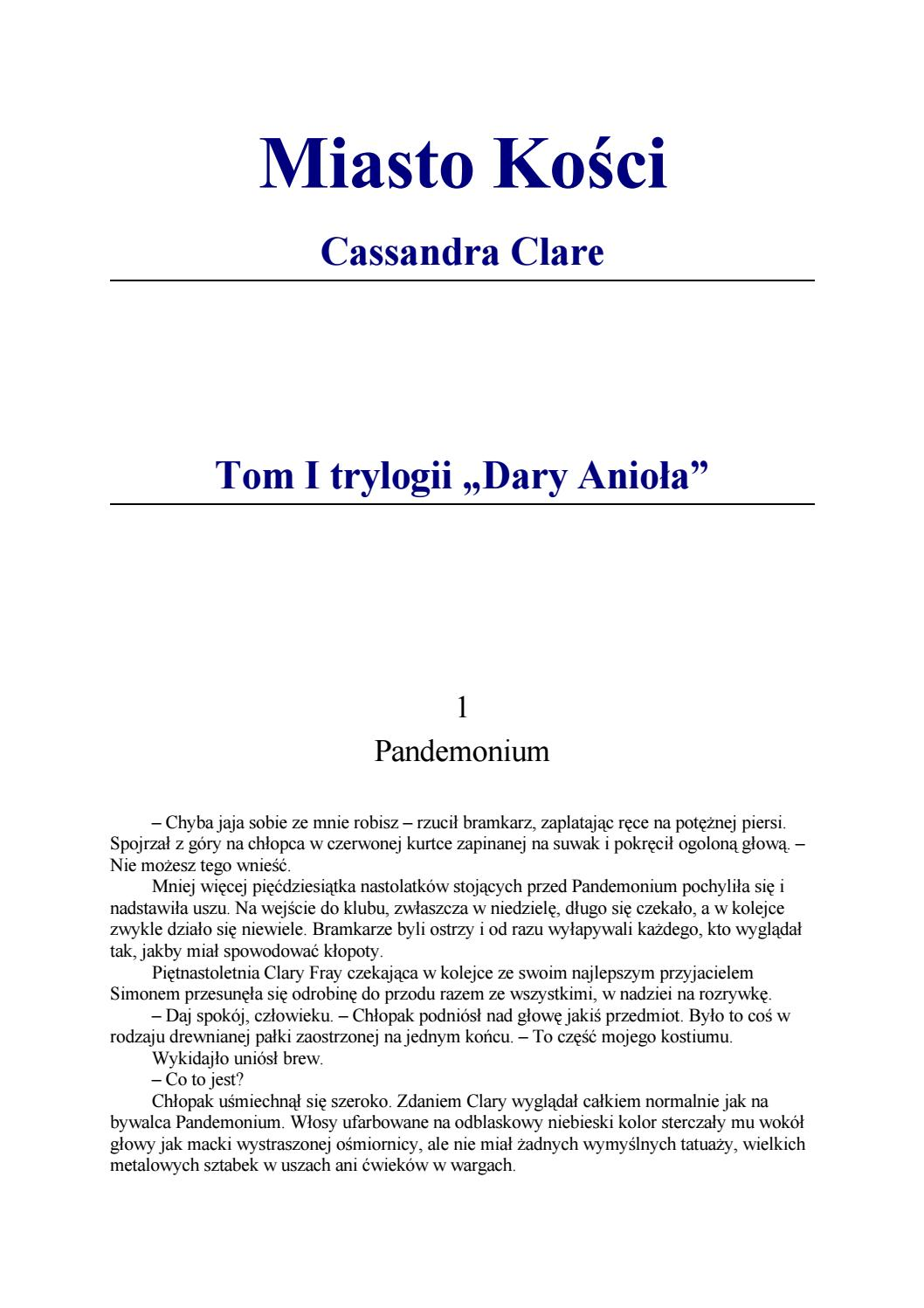 Cassandra Clare 01 Miasto Kosci By Gregmar Issuu