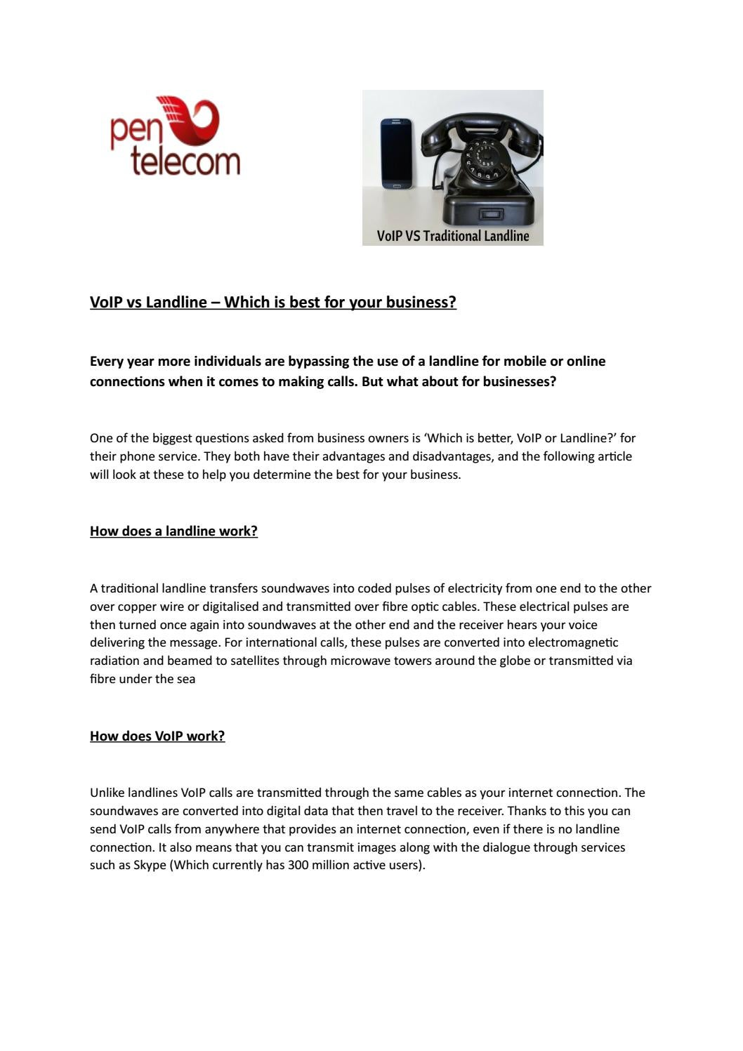 Voip vs landline by Jon Pentel - issuu