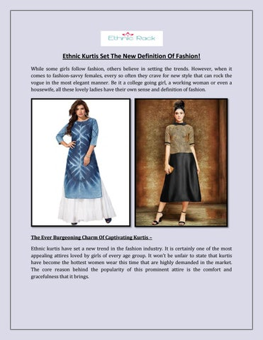 Ethnic Kurtis Set The New Definition Of Fashion By John Walker Issuu