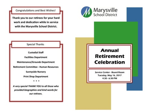 2017 Retirement Celebration Program by Marysville School