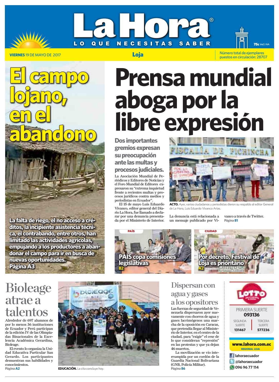 Diario la hora loja 19 de mayo 2017 by Diario La Hora Ecuador - issuu