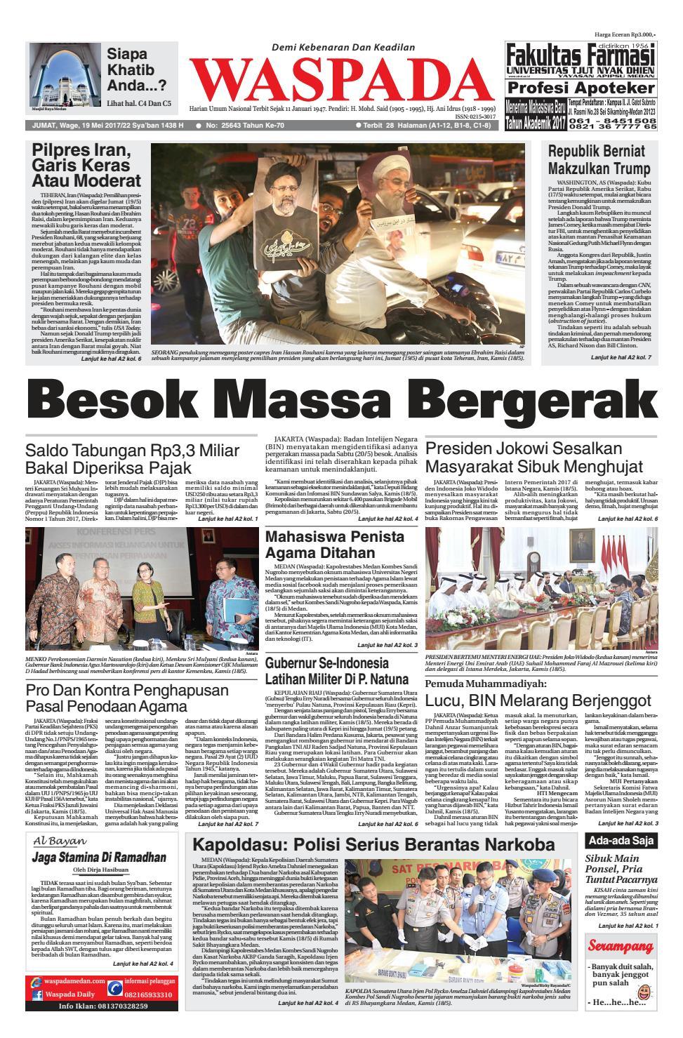 Waspada jumat 19 mei 2017 by Harian Waspada issuu