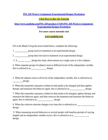 Psy 335 Week 4 Assignment Experimental Designs Worksheet By Bhdf Issuu