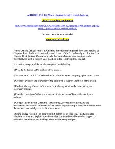 Ashford Crj  Week  Journal Article Critical Analysis By