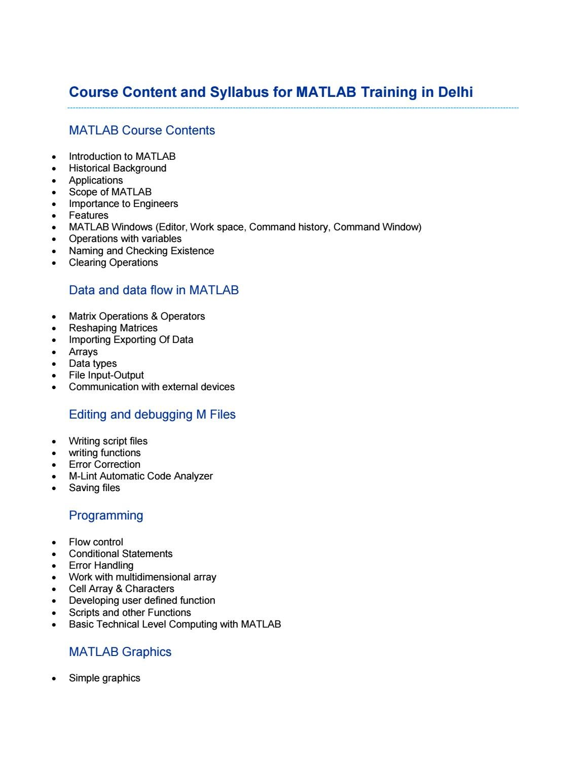 Course Content and Syllabus for MATLAB Training in Delhi by Aptron