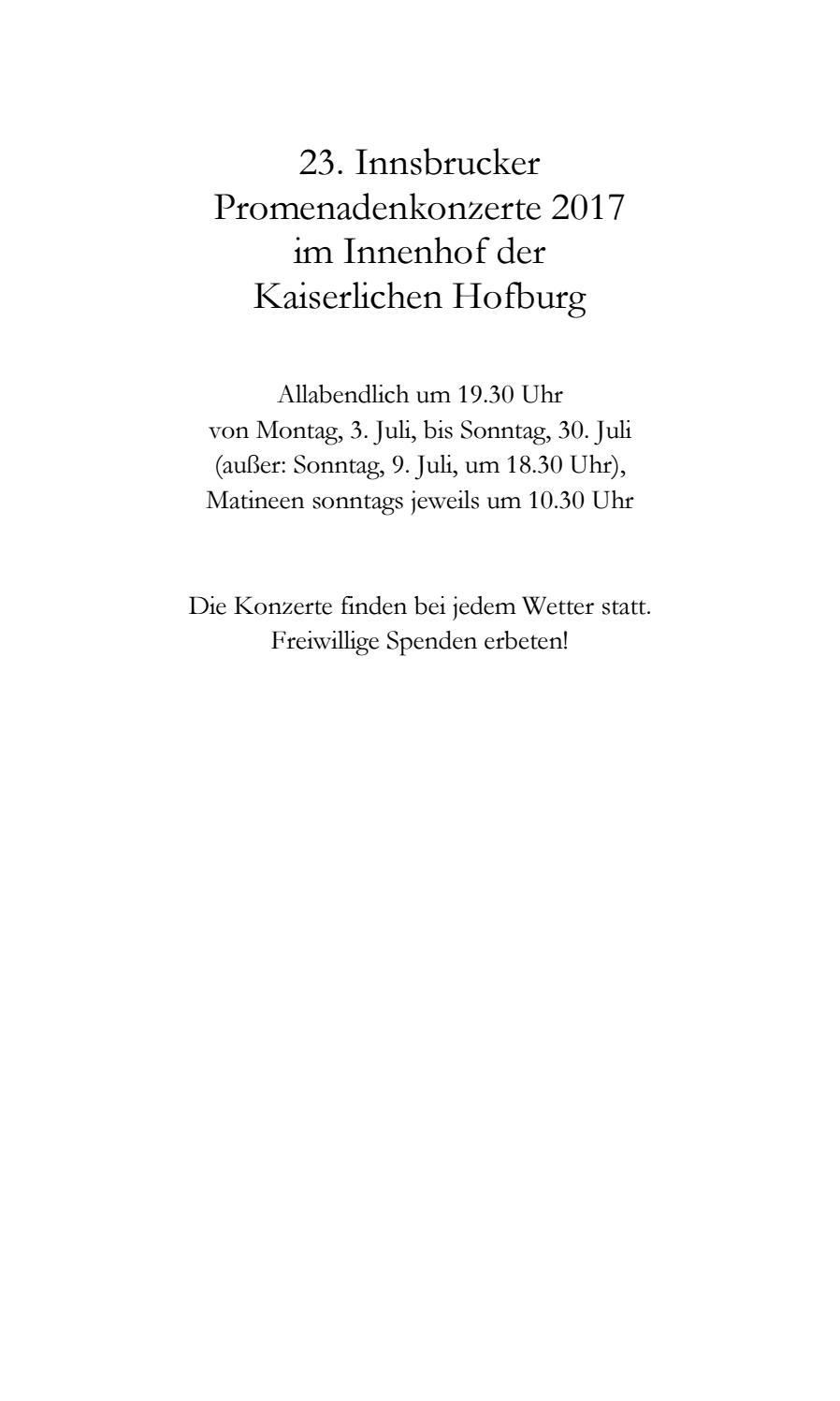 Programmbuch 23 Innsbrucker Promenadenkonzerte 2017 By