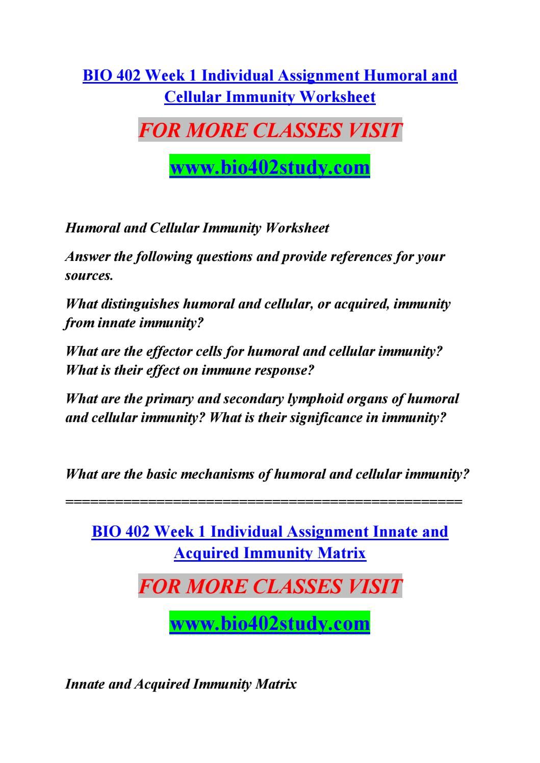 Bio 402 week 1 individual assignment humoral and cellular ...