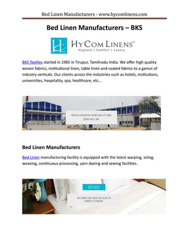 Bed linen manufacturers by Sangeetha Velkrishna - issuu