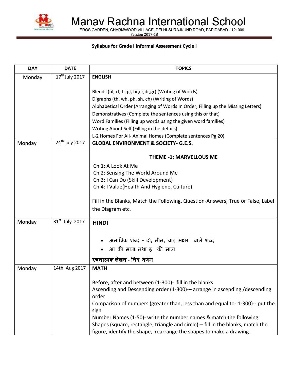 grade-i-informal-assessment-syllabus by MRIS - issuu