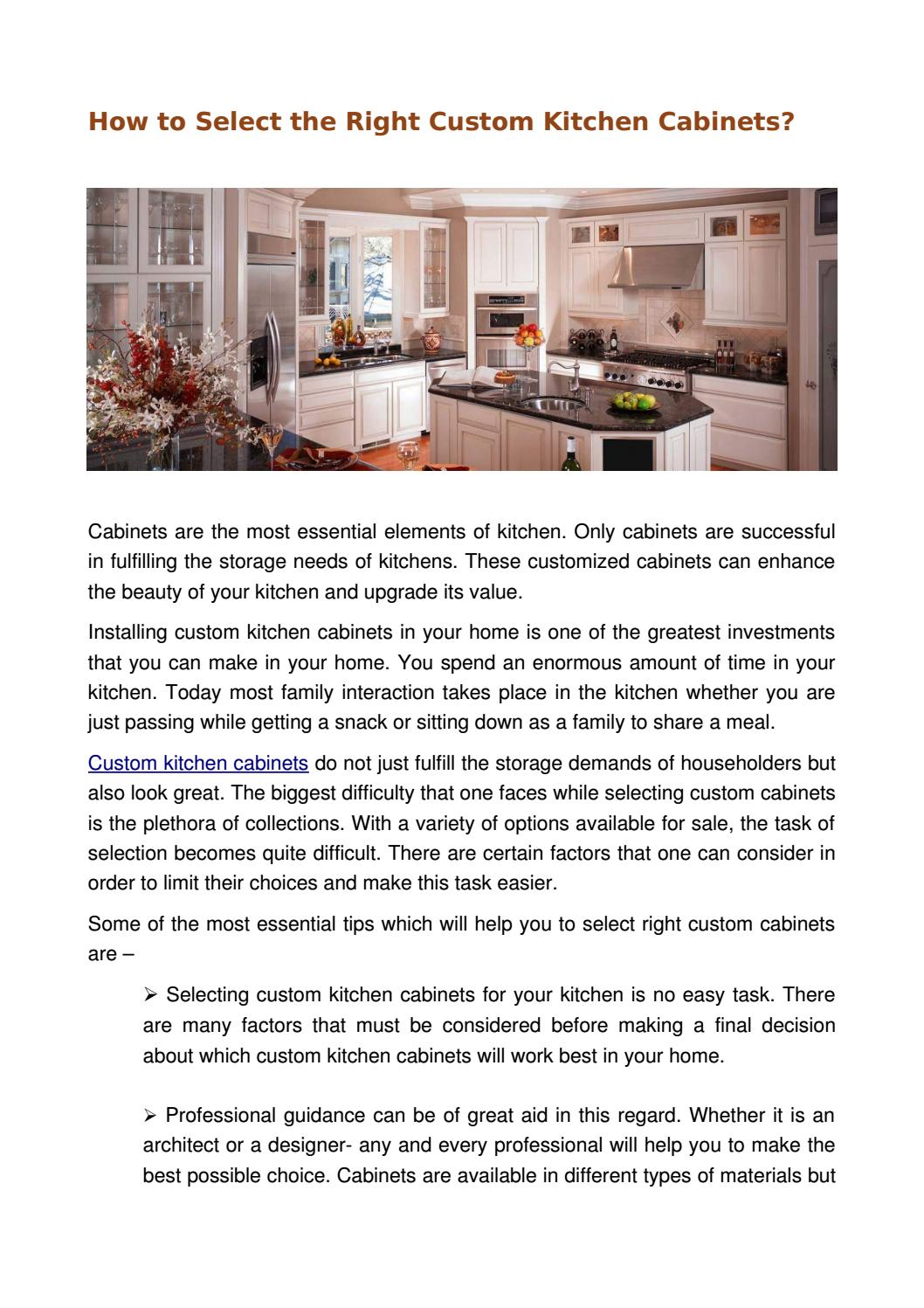 How To Select The Right Custom Kitchen Cabinets How To