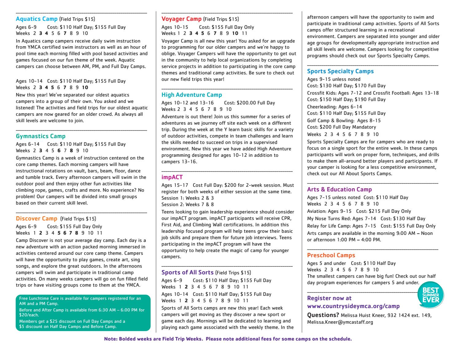 Ymca Camp Countryside Schedule 2017 Lebanon By Countryside Ymca Issuu