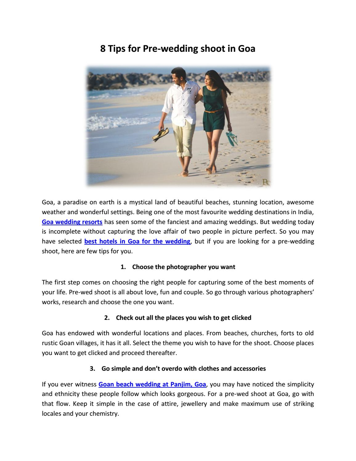 a341cbee2f7 8 Tips for Pre-wedding shoot in Goa by ShubhamJindal - issuu
