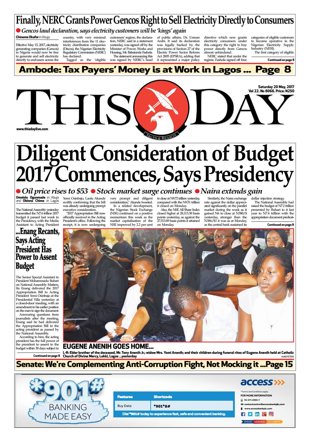 saturday 20th may 2017 by thisday newspapers ltd issuu rh issuu com