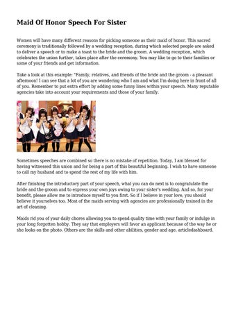 Maid Of Honor Speech For Sister By Owenpayne121 Issuu