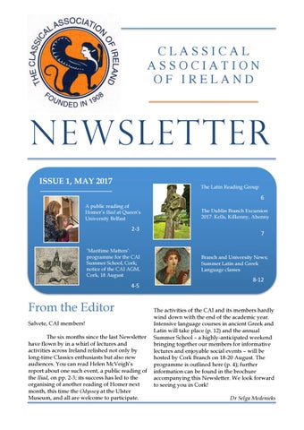 "Cover of ""Classical Association of Ireland Newsletter May 2017"""