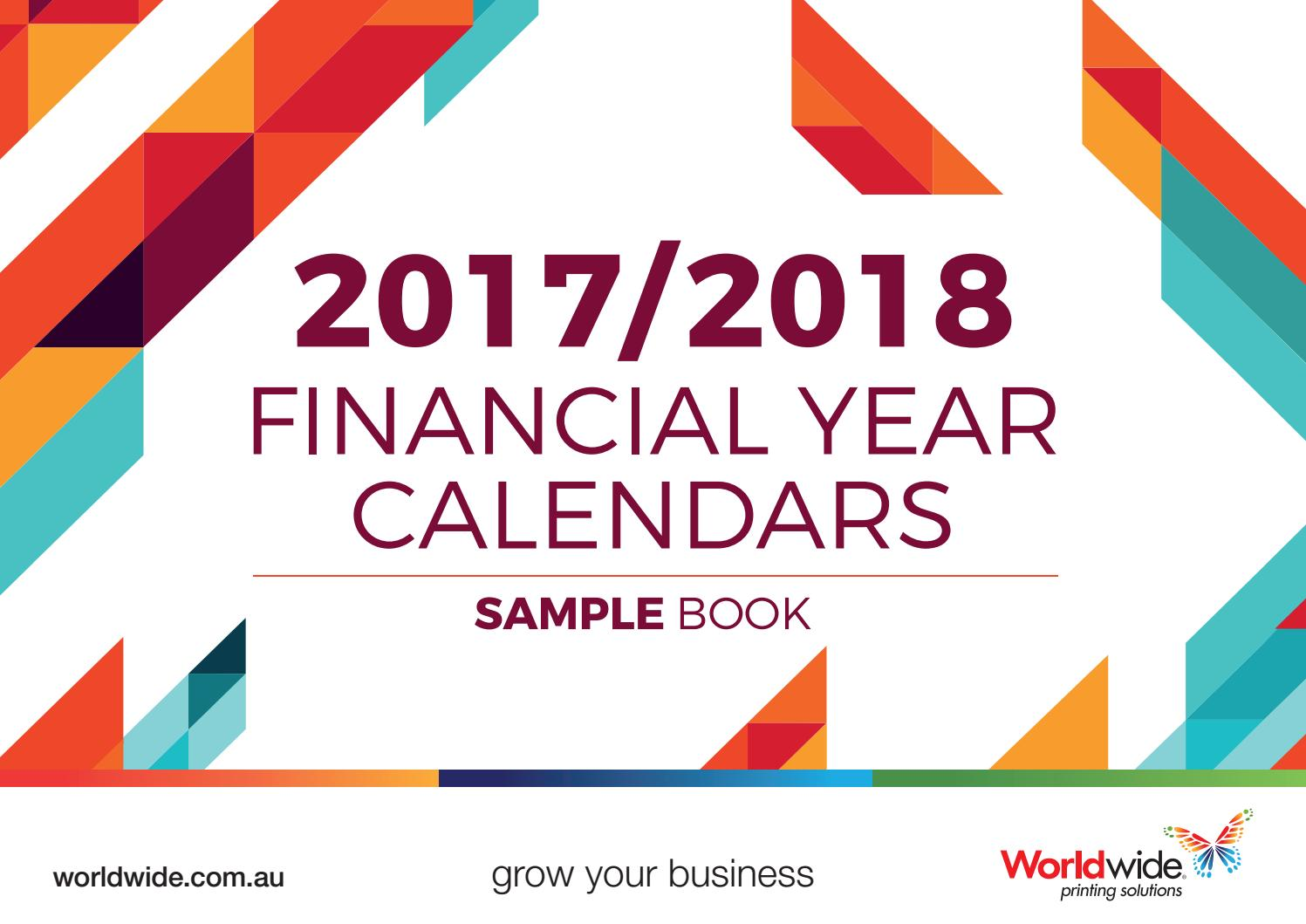 2017 2018 Financial Year Calendars Sample Book By