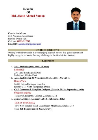 Akash Ahmed Sumon Cv For Jobs January 2017 Docx By Akash Ahmed Sumon