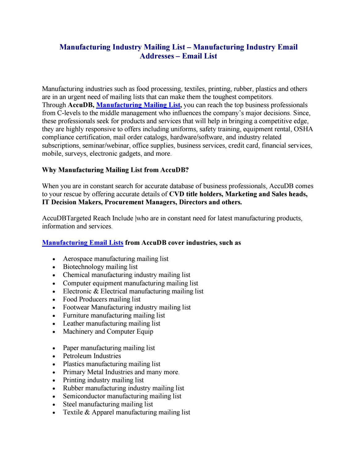 Manufacturing industry mailing list – manufacturing industry