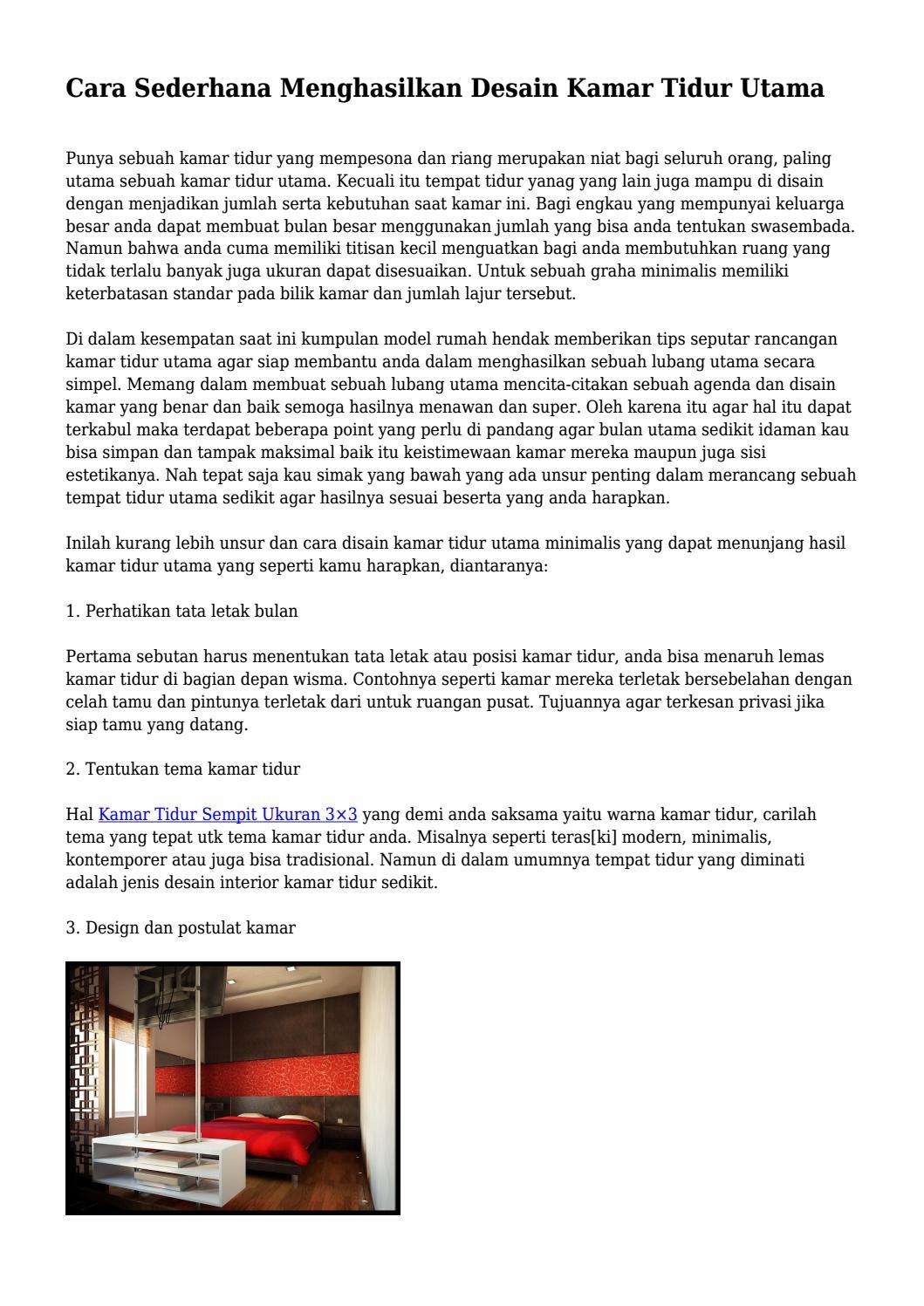 Cara Sederhana Menghasilkan Desain Kamar Tidur Utama By