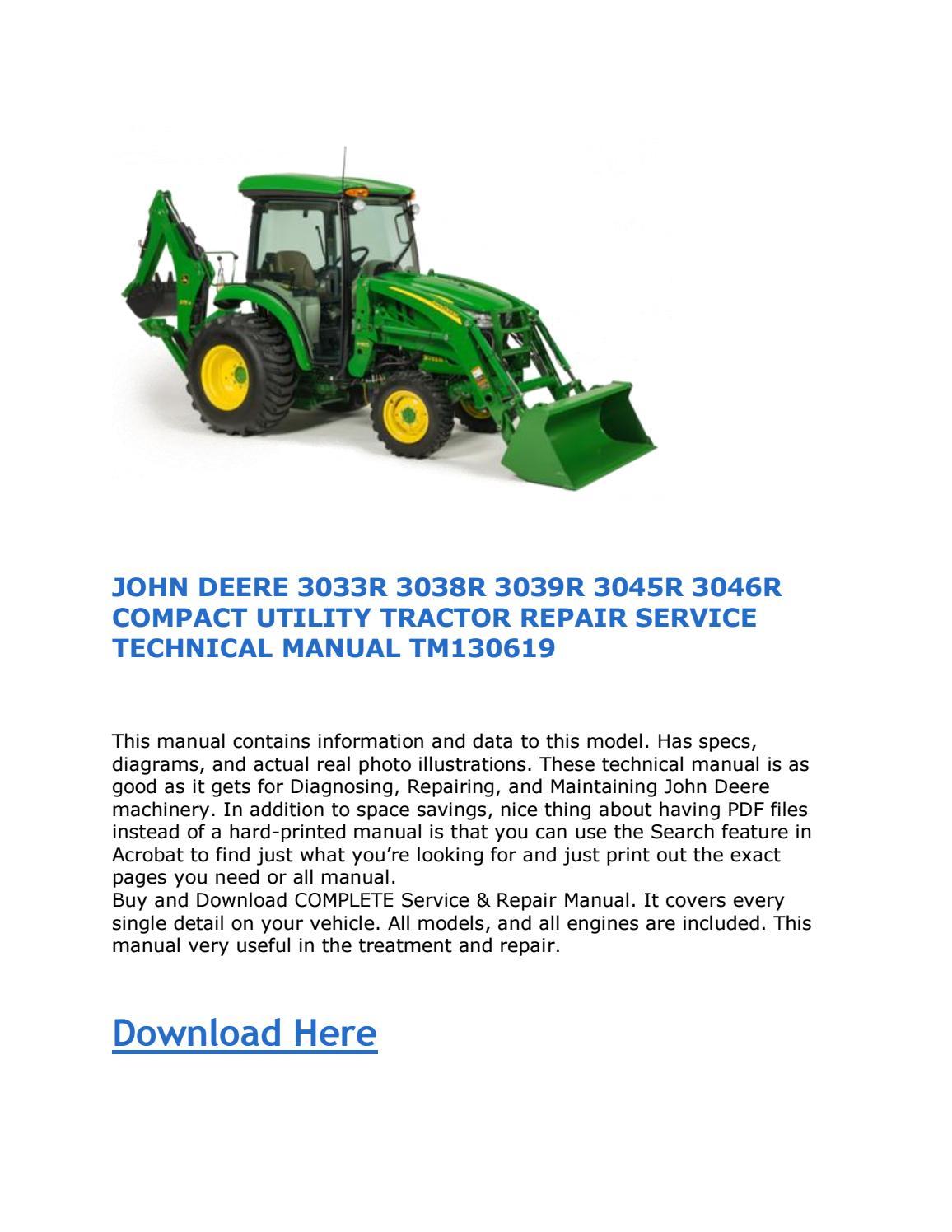John Deere 3033r 3038r 3039r 3045r 3046r Compact Utility Tractor Repair Service Technical Manual