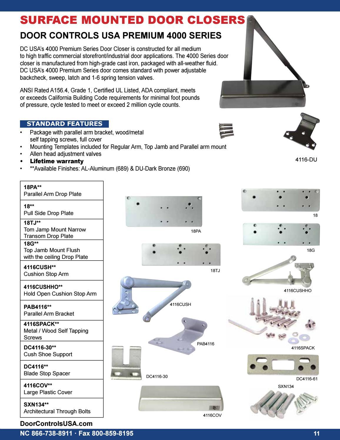 2017 Door Controls Usa Inc Hardware Catalog By Door