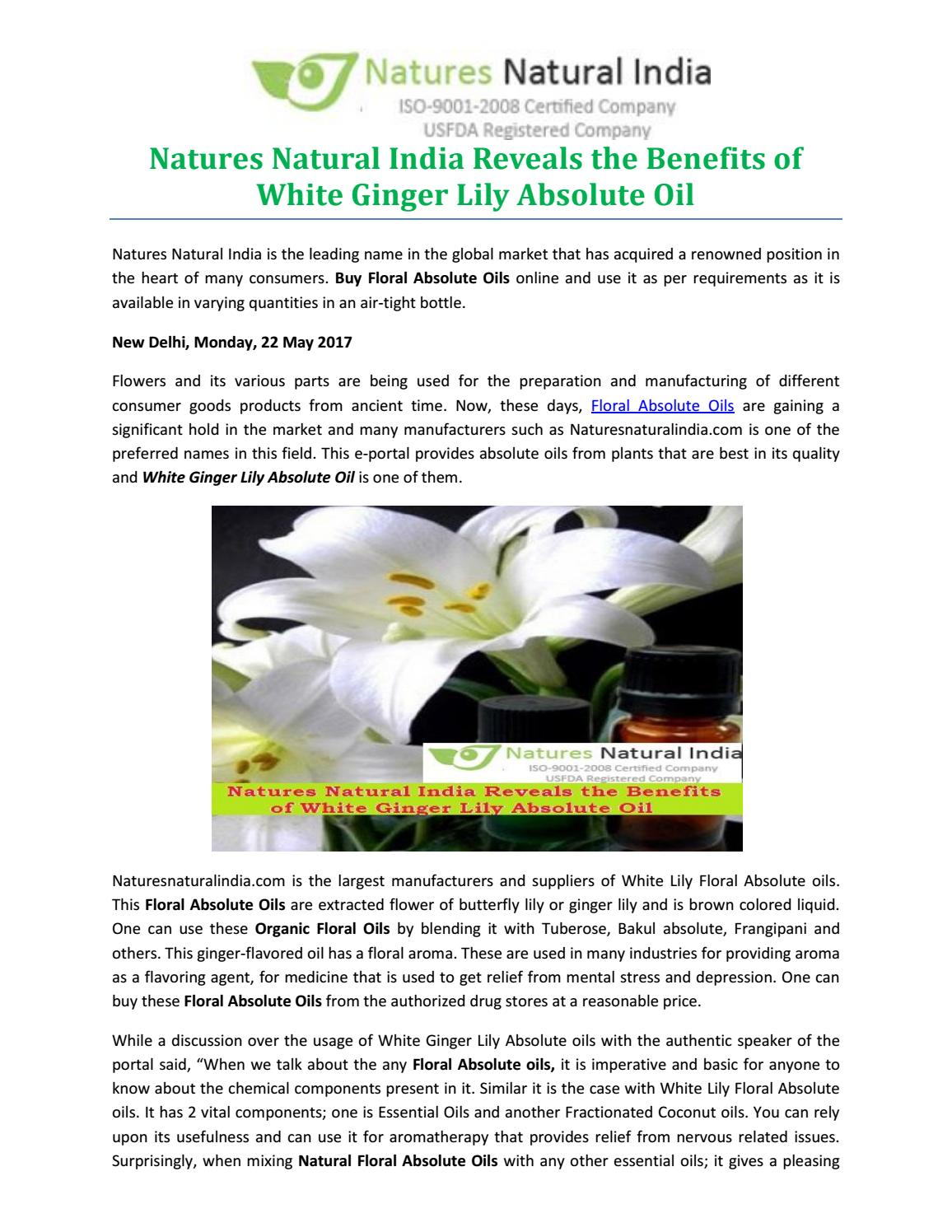 Natures Natural India Reveals The Benefits Of White Ginger Lily