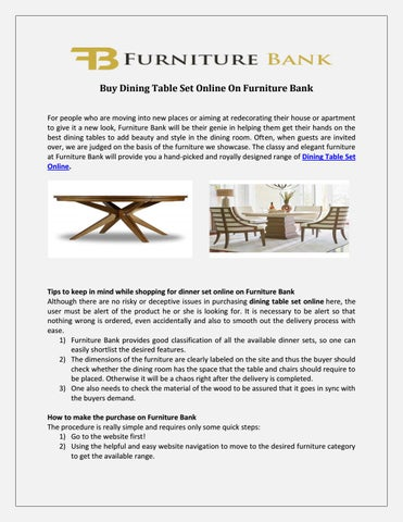 Buy Dining Table Set Online On Furniture Bank For People Who Are Moving  Into New Places Or Aiming At Redecorating Their House Or Apartment To Give  It A New ...