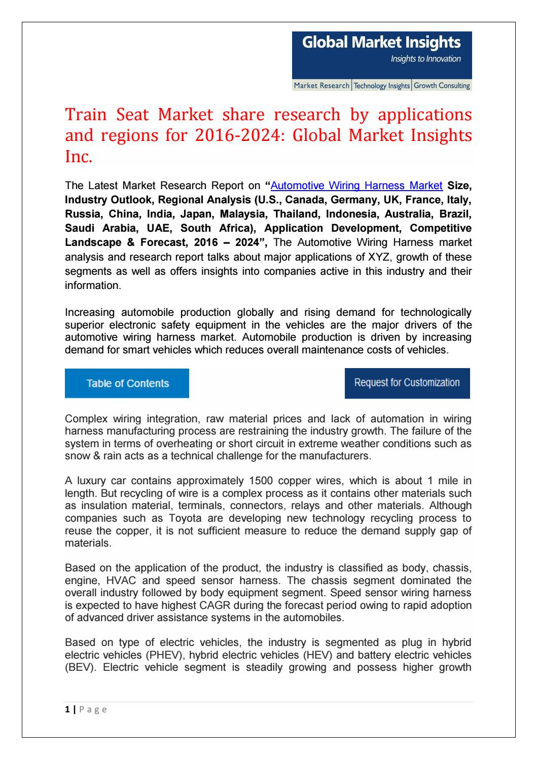 Automotive Wiring Harness Market Share Research By Applications And Auto Mobile Regions For 2016 2024 Mayur Yeole Issuu