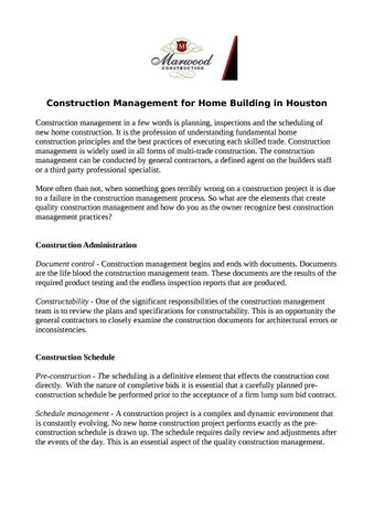 Construction Management For Home Building In Houston By Marwood Construction Issuu
