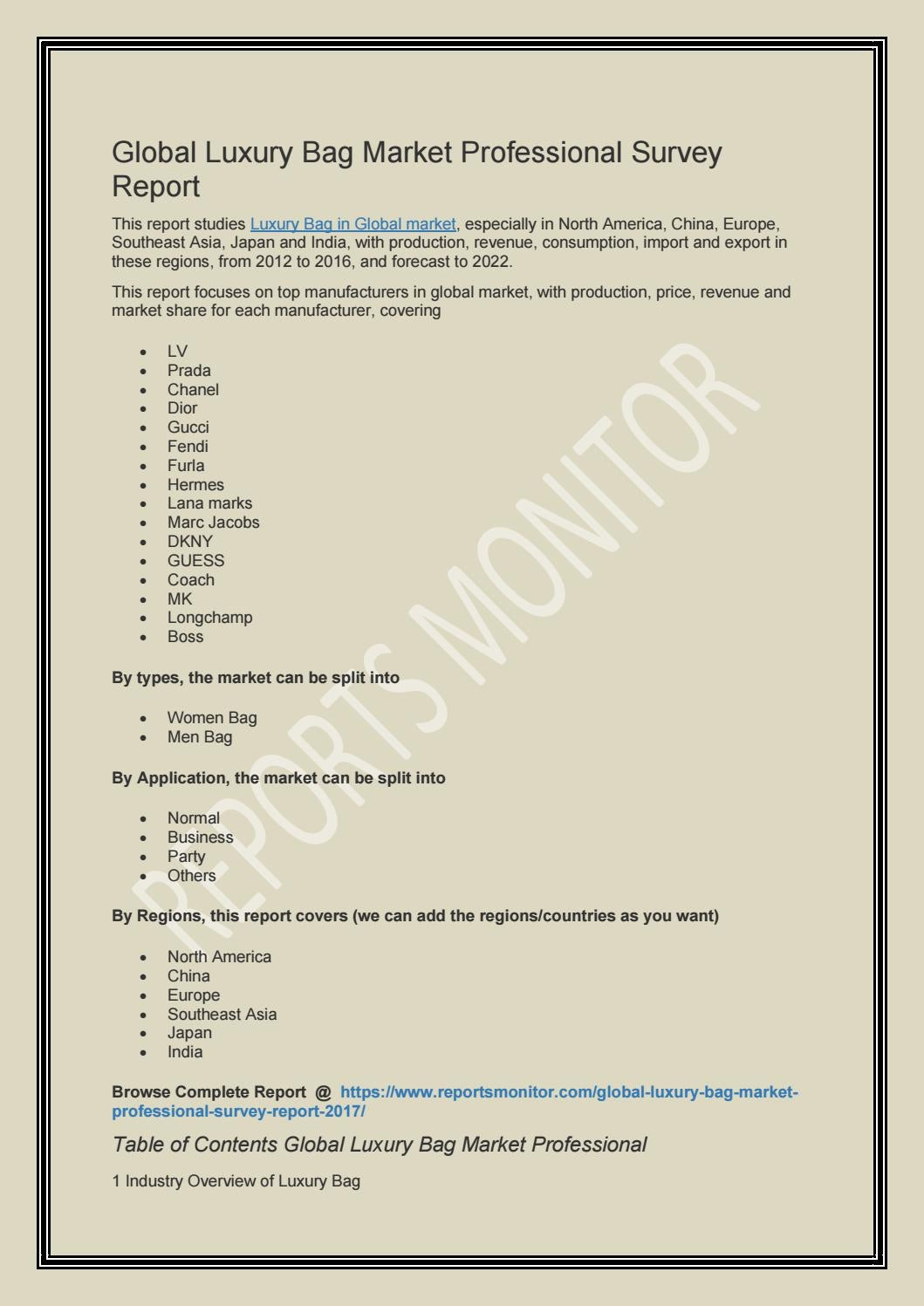 global luxury bag market professional survey report by adneyaiken