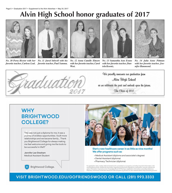 Graduation 2017 by The Alvin Sun & Advertiser - issuu