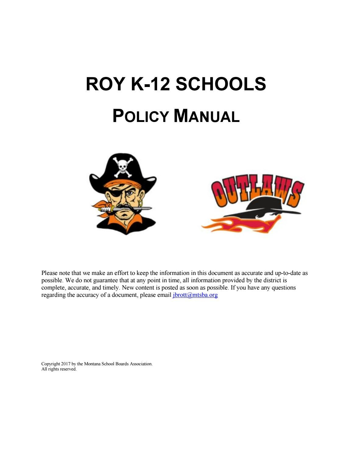 Roy K 12 Schools Policy Manual By Montana School Boards Association Example State Diagram Courseoffering Issuu