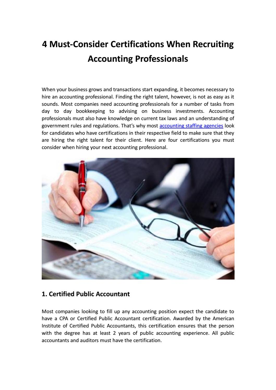 4 must consider certifications when recruiting accounting 4 must consider certifications when recruiting accounting professionals by sherries simmons issuu xflitez Images