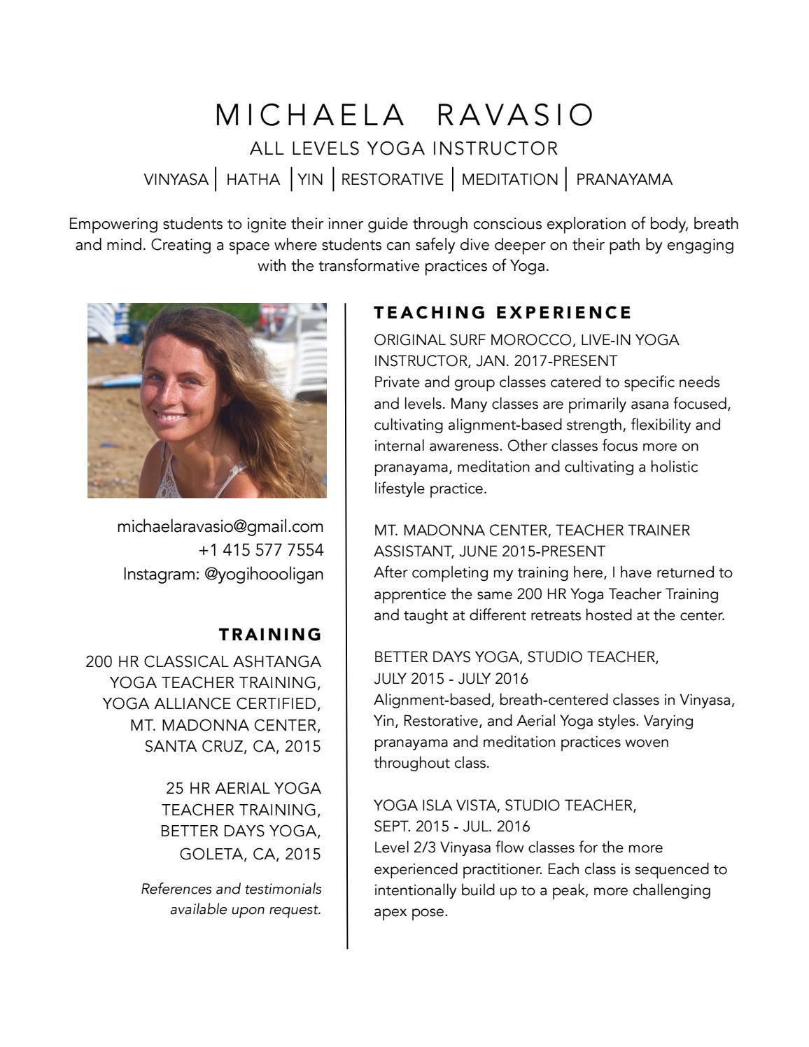 michaela ravasio yoga instructor resume by michaela