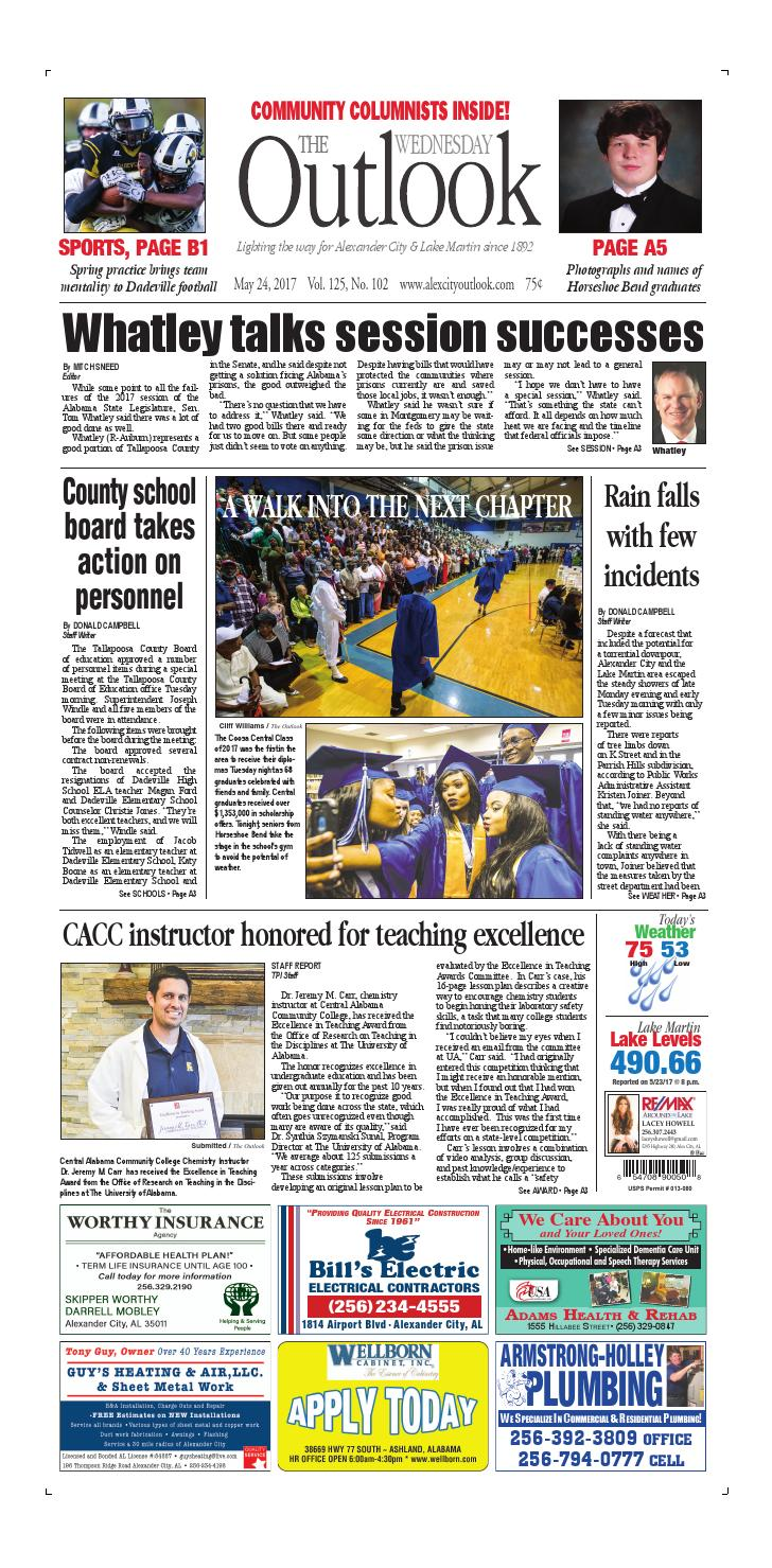 May 24 2017 Alex City Outlook By Tallapoosa Publishers Issuu