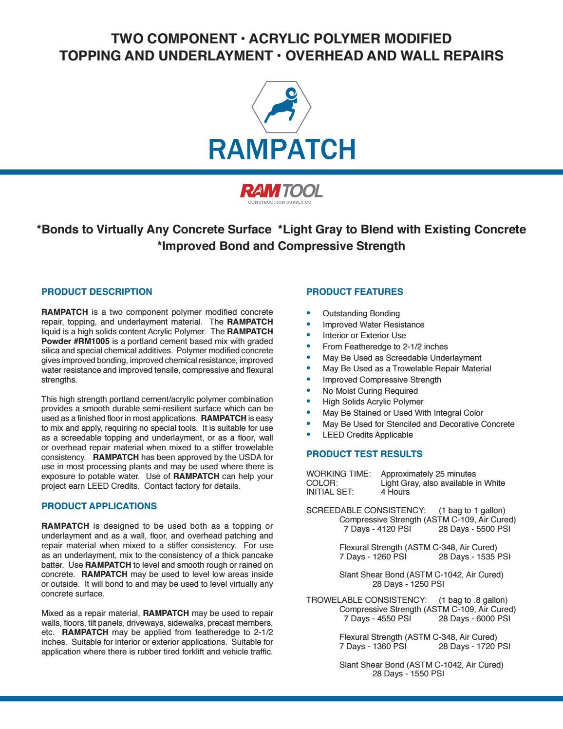 RamPatch Tech Data & SDS by Ram Tool Construction Supply Co