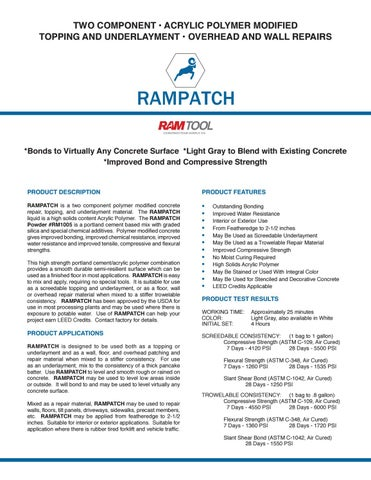 RamPatch Tech Data & SDS by Ram Tool Construction Supply Co  - issuu